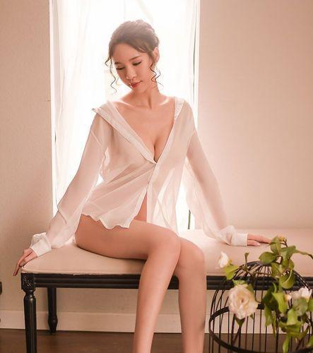 Комплект белая рубашка  шифон +трусы 322-04