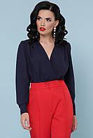 Стильная темно-синяя блуза-боди с запахом, фото 1