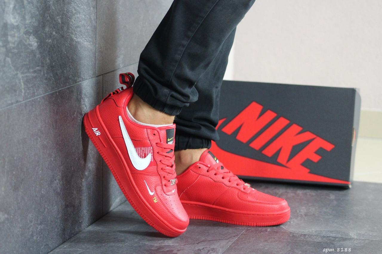 Мужские кроссовки Nike Air Force 1 (красные)