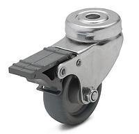 Колесо с поворотным кронштейном с отверстием и тормозом, диаметр 50 мм, нагрузка 40 кг