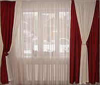 Комплект штор бордо и слоновая кость, фото 1