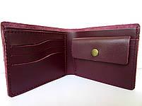 Кошелек кожаный женский бордовый мини, фото 3