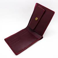 Кошелек кожаный женский бордовый мини, фото 5