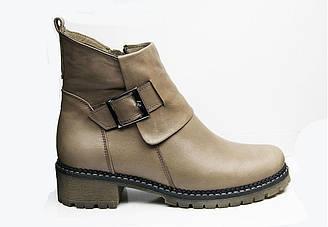 Зимние женские кожаные ботинки 36-41 светло-серый