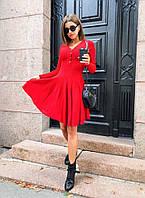 Женское платье на пуговицах с юбкой клеш, врасцветках. ЕД-1-0819
