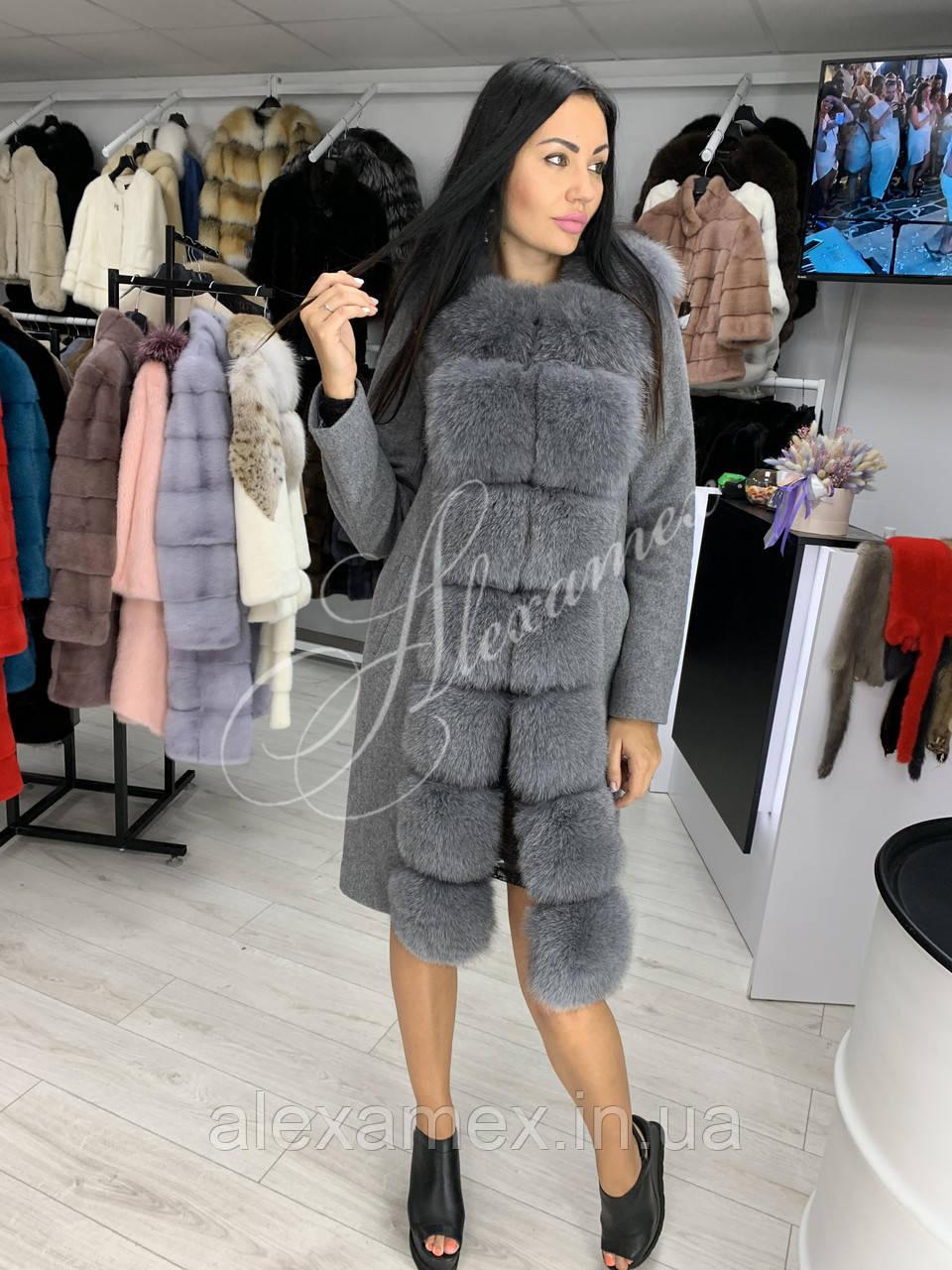 Шикарное пальто из итальянской шерсти с бортами из финского песца