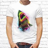 Мужская футболка с принтом Акула цветная Push IT