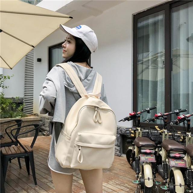 Рюкзак школьный из кожзама бежевый