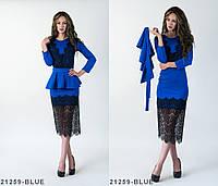 Оригинальное нарядное платье со съемным поясом баской и гипюровыми вставками Lotta