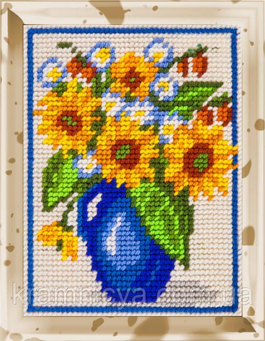 """Набор для вышивания с пряжей """"Подсолнухи в синем кувшине"""" 15х20 см. Bambini арт. 2214"""