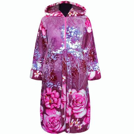 Халат махровый теплый зимний в цветах, фото 2