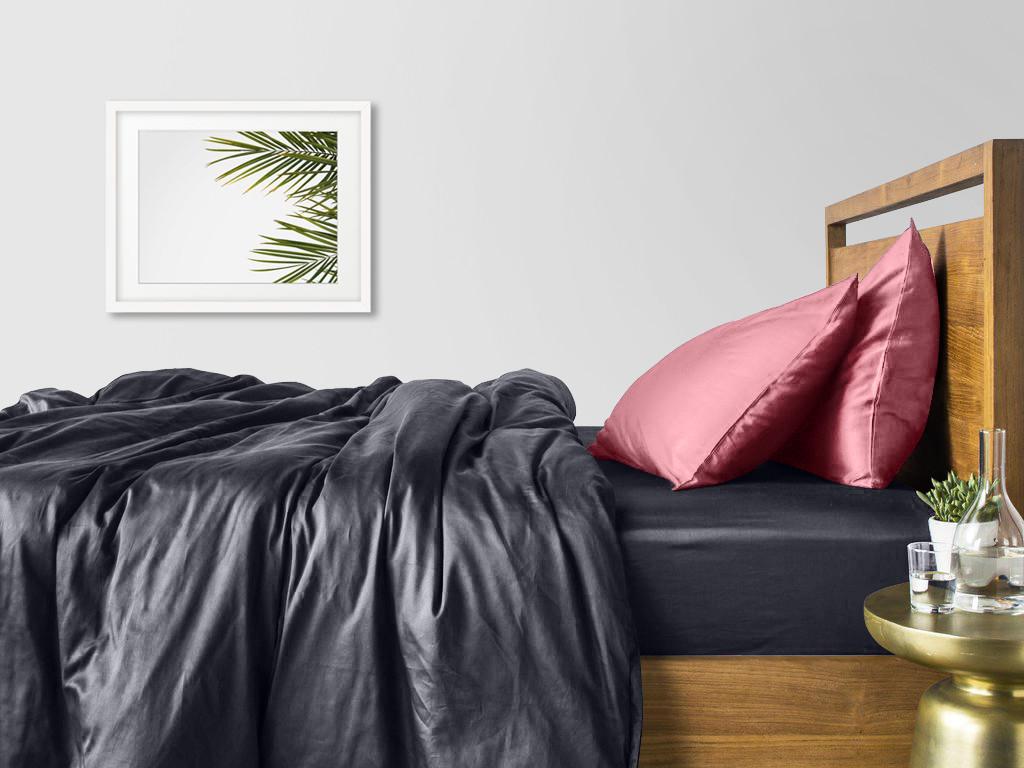 Комплект евро взрослого постельного белья сатин GREY PUDRA-P