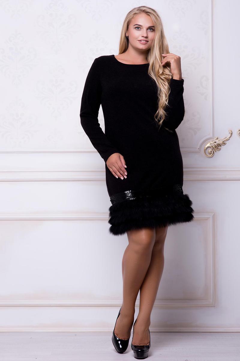 Черное коктейльное платье с пайетками и мехом больших размеров