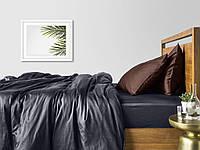 Комплект евро взрослого постельного белья сатин GREY CHOCOLATE-P