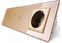 Сенсорный двойной выключатель с розеткой Livolo, цвет золотой, стекло (VL-C701/C701/C7C1EU-13)