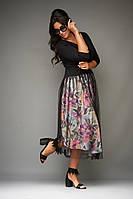 Приталенное женское платье с красивым декольте на завязках юбка из сетки ниже колен 50, 52, 54, 56