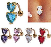 Серьга в пупок с яркими цирконами 2 сердечка, плоская оправа, фото 1
