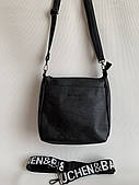 Черная наплечная женская сумка повседневная на длинном ремешке Pretty Woman