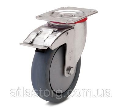 Колесо з поворотним кронштейном з майданчиком і гальмом, діаметр 100 мм, навантаження 90 кг