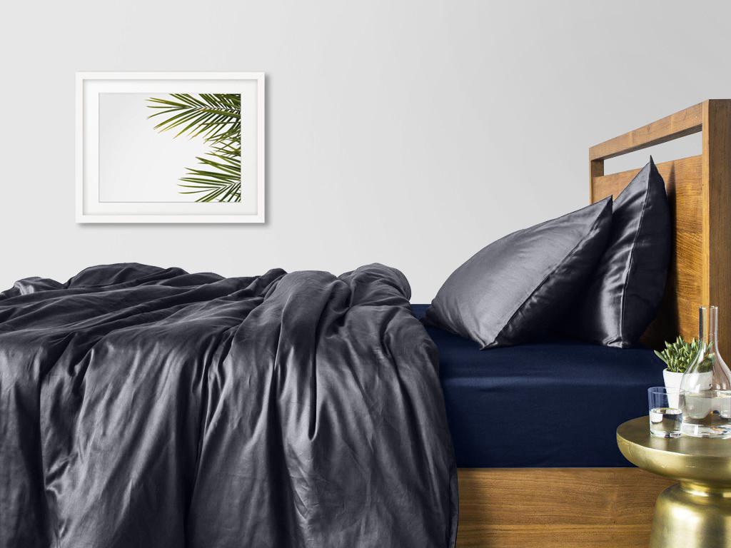Комплект евро взрослого постельного белья сатин GREY BLUE-S