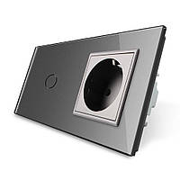 Сенсорный выключатель с розеткой Livolo, цвет серый, стекло (VL-C701/C7C1EU-15)