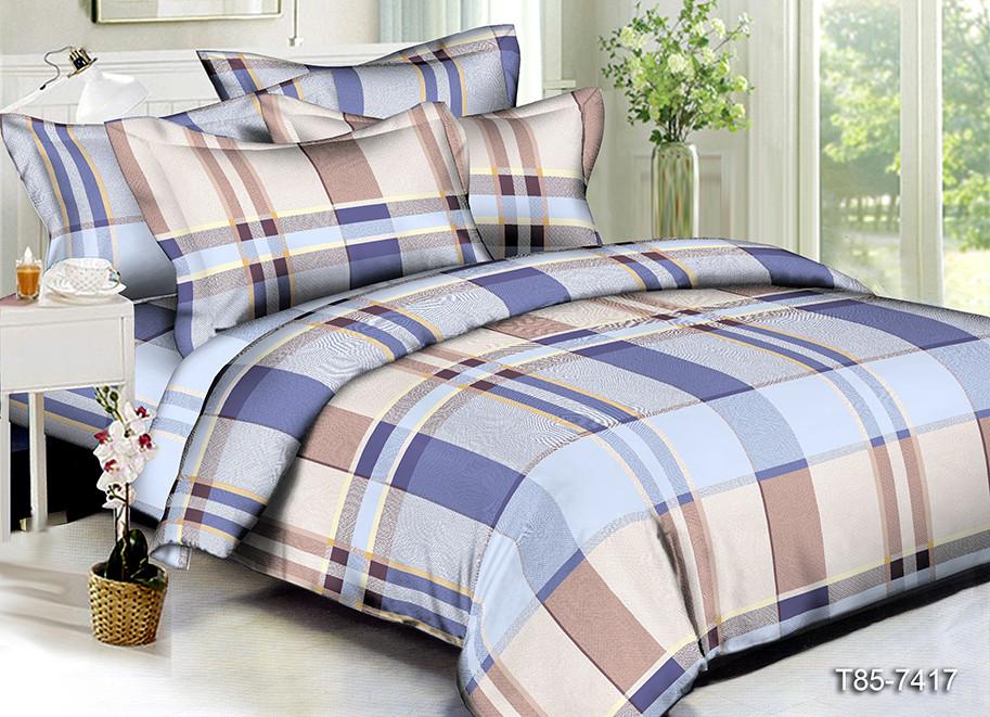 Полуторный комплект постельного белья «Синяя полоска» 145х215 см из полиэстера