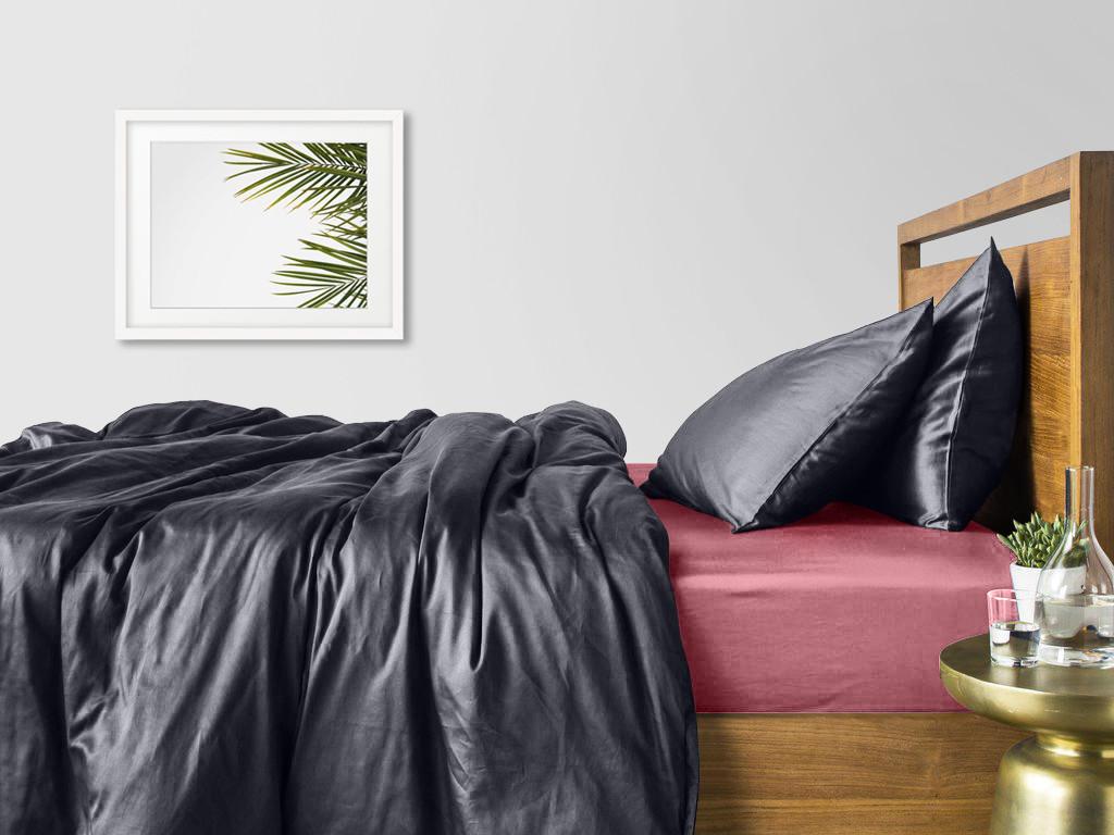 Комплект евро взрослого постельного белья сатин GREY PUDRA-S