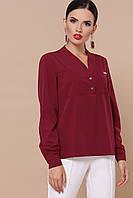 Женская бордовая блузка прямого кроя, фото 1