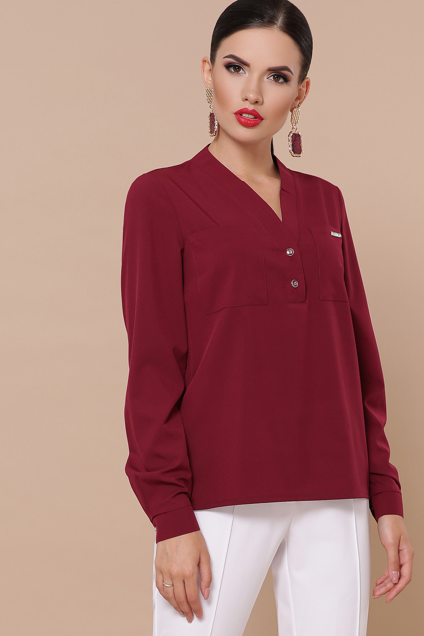Жіноча бордова блуза прямого крою