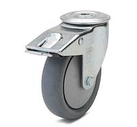 Колесо с поворотным кронштейном с отверстием и тормозом, диаметр 80 мм, нагрузка 80 кг