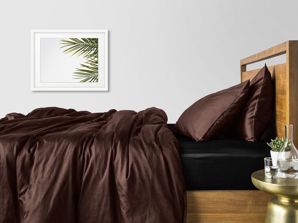 Комплект євро дорослого постільної білизни сатин CHOCOLATE BLACK-S
