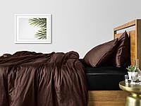 Комплект евро взрослого постельного белья сатин CHOCOLATE BLACK-S