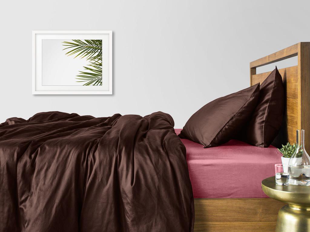 Комплект евро взрослого постельного белья сатин CHOCOLATE PUDRA-S