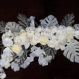 Композиція штучна біла з квітів, фото 4