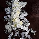 Композиція штучна біла з квітів, фото 3