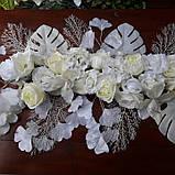 Композиція штучна біла з квітів, фото 2