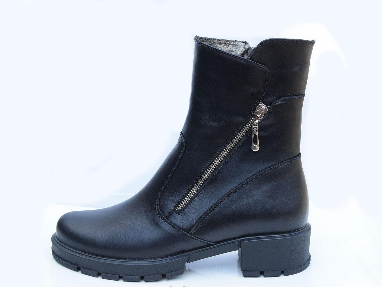 Зимние женские кожаные полусапоги 36-41 черный
