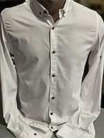 Стильна молодіжна сорочка. Чоловіча завужена біла сорочка Slim Fit.Туреччина.