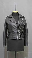 Куртка кожаная женская КОСУХА черная со шнуровкой