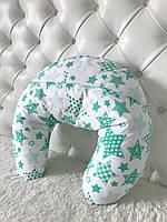 Подушка для годування, зелені зірки на білому