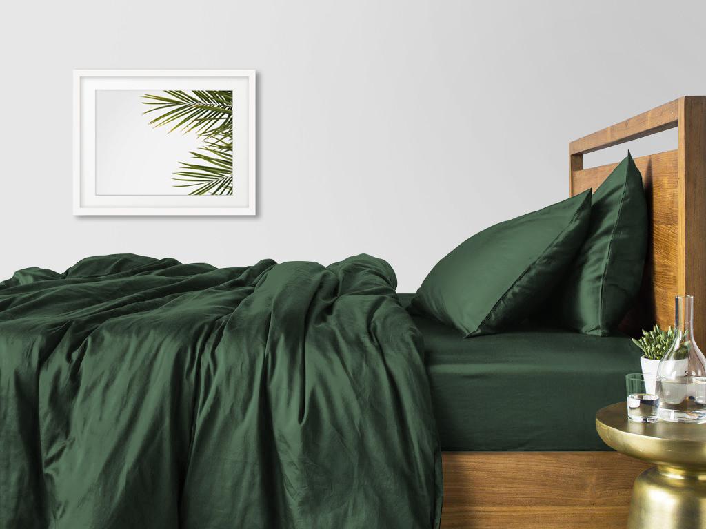 Комплект евро взрослого постельного белья сатин GREEN