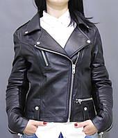 Куртка кожаная женская КОСУХА черная.