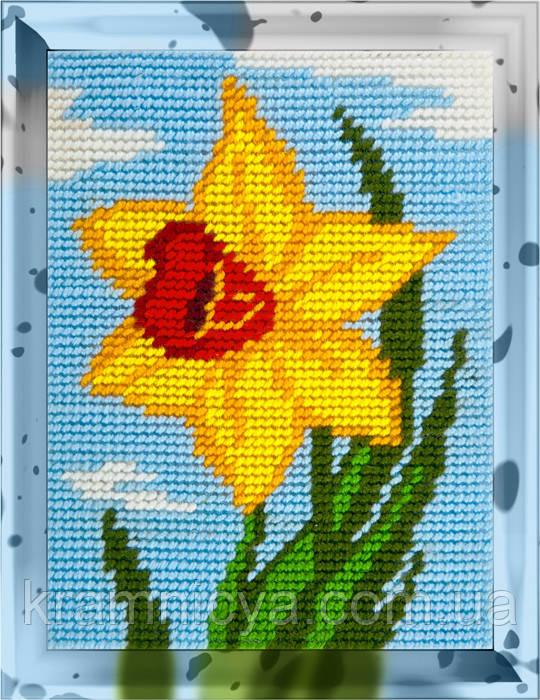 """Набор для вышивания с пряжей """"Желтый нарцисс"""" 15х20 см. Bambini арт. 2248"""