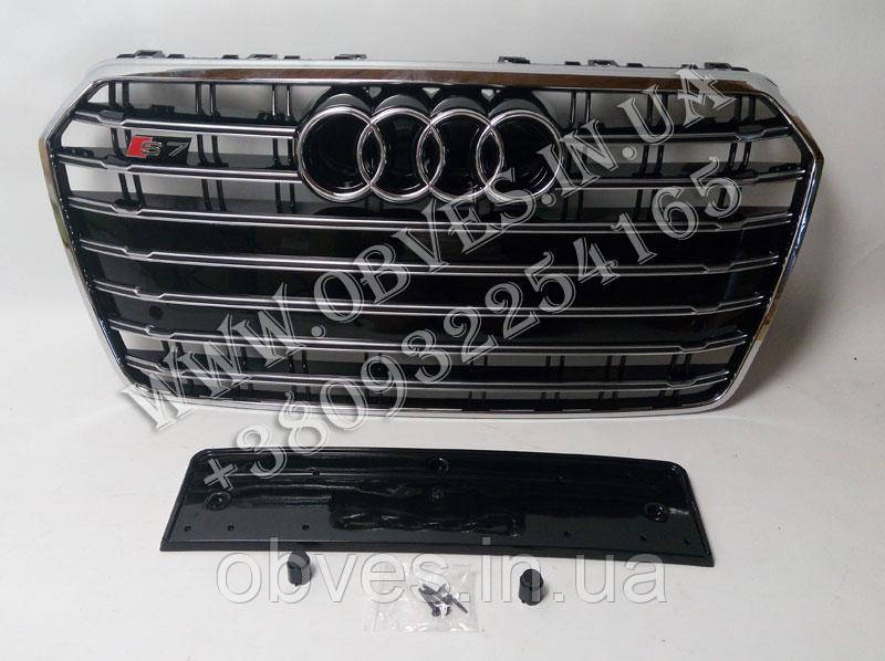 Решетка радиатора Audi A7 2014-2017 стиль Audi S7 (Black/Chrome)