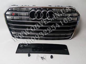 Решітка радіатора Audi A7 2014-2017 стиль Audi S7 (Black/Chrome)