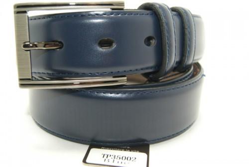Ремень брючный кожаный классический (синий) ALON
