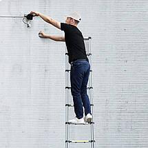 Лестница алюминиевая телескопическая 2,6 метра Ladder EN 131 9 ступеней макс вес 150 кг, фото 3