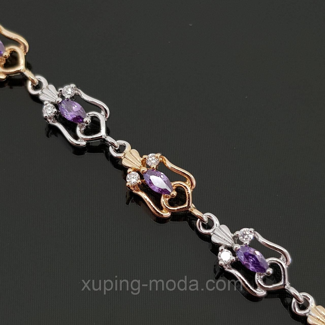 Браслет с фиолетовыми камнями. Недорогая бижутерия