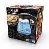 Электрочайник стеклянный Adler AD 1274 black 1,7 литр, фото 3
