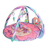 Развивающий коврик диаметром 820 мм для младенца 789-13-13A с пианино, розовый